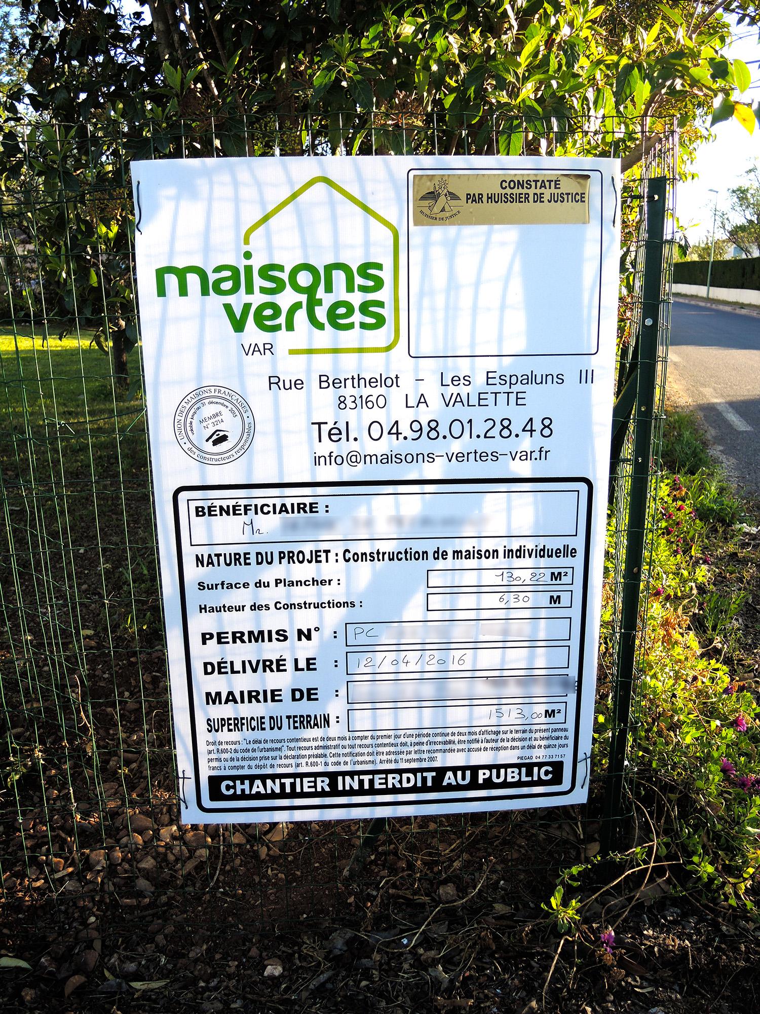 Construction maisons vertes du var acceptation du permis for Cout permis construire