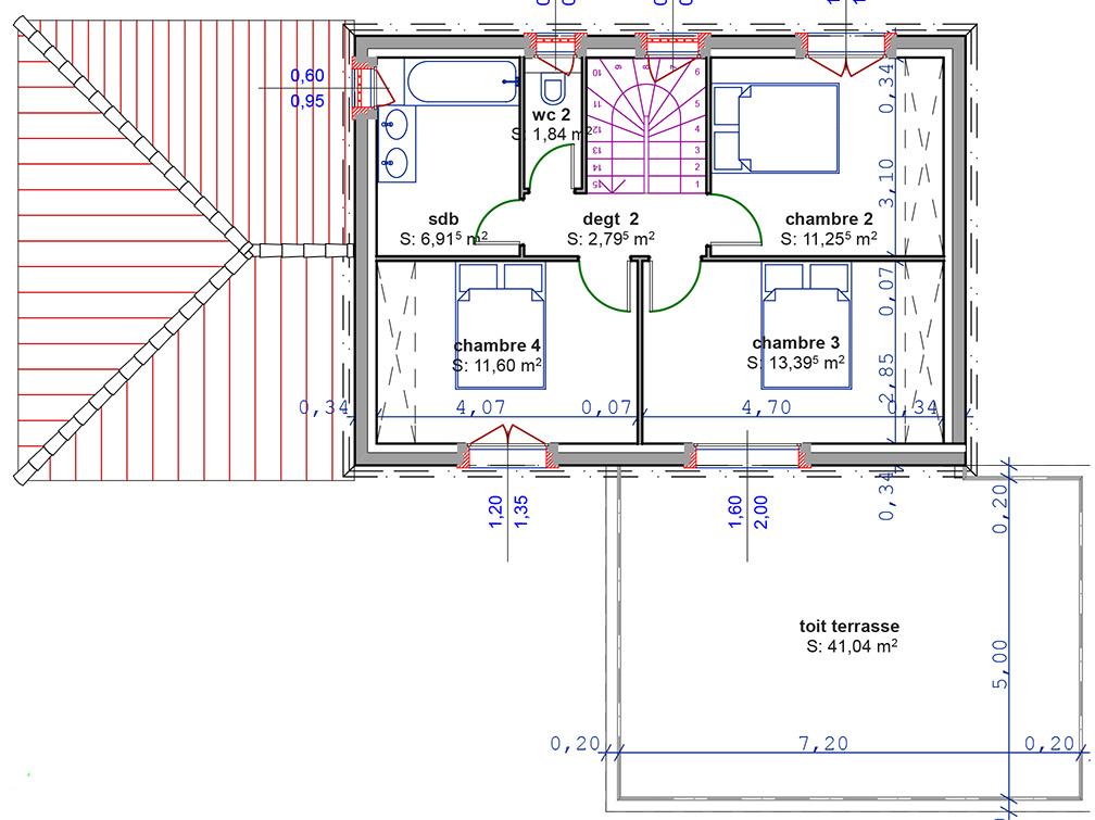 plan maison avec etage partiel